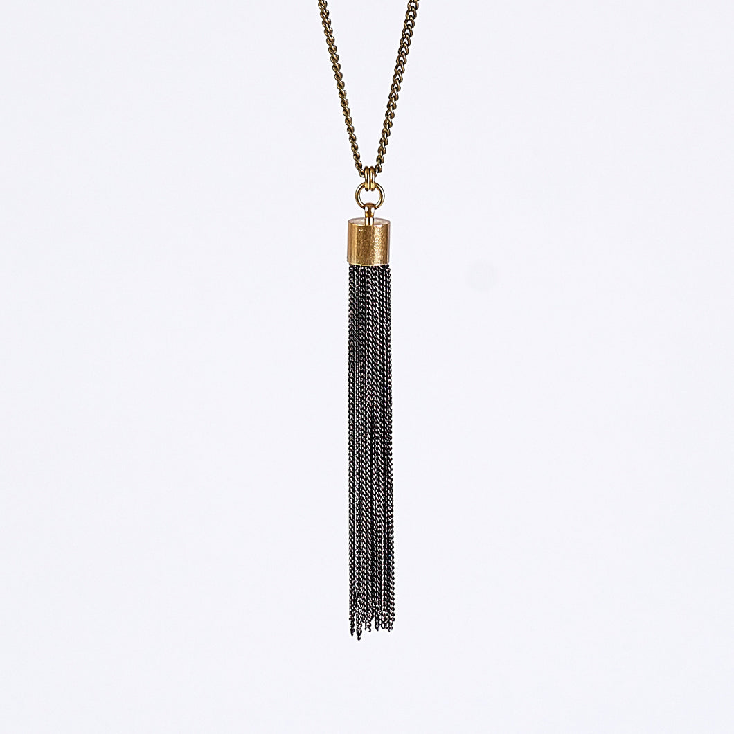 tassel curb chain L brass necklace #1