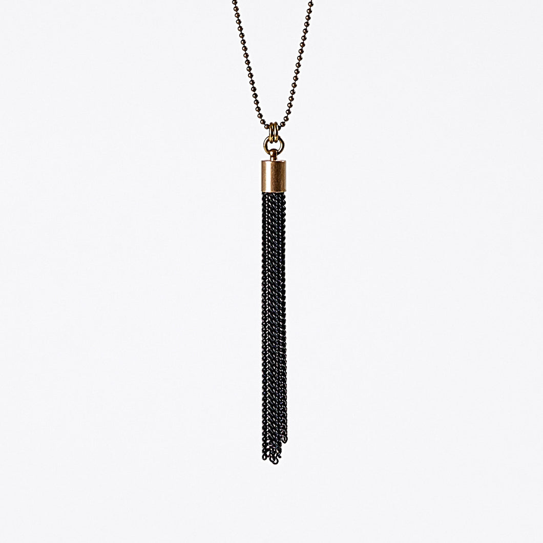 tassel curb chain M brass necklace #3