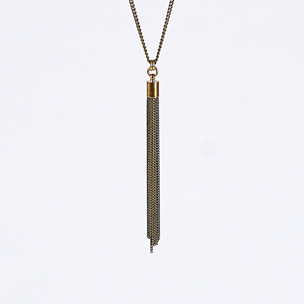 tassel curb chain S brass necklace #1