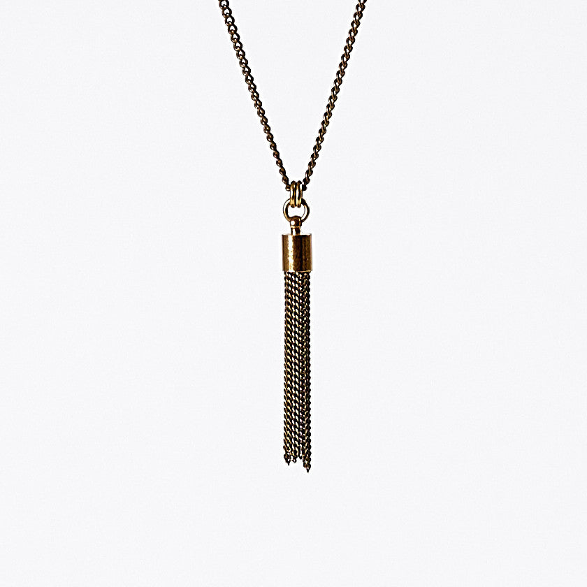 tassel curb chain S brass necklace #2