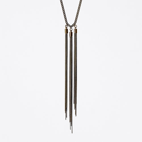 tassel curb chain native brass necklace #1