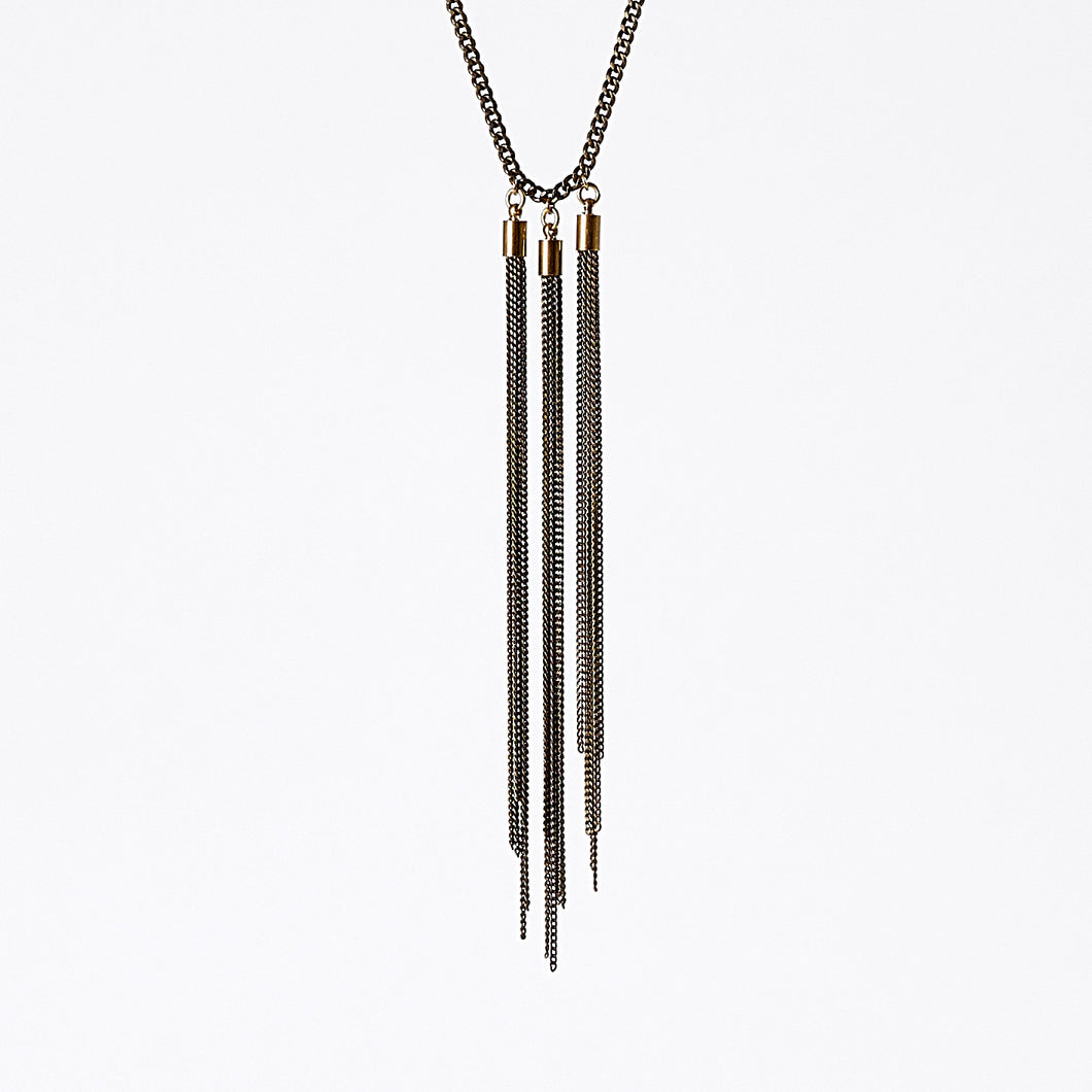 tassel curb chain native brass necklace #2