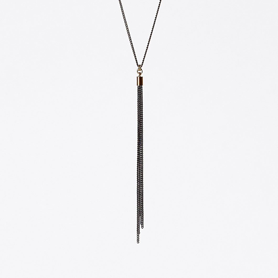 tassel curb chain XS brass necklace #1