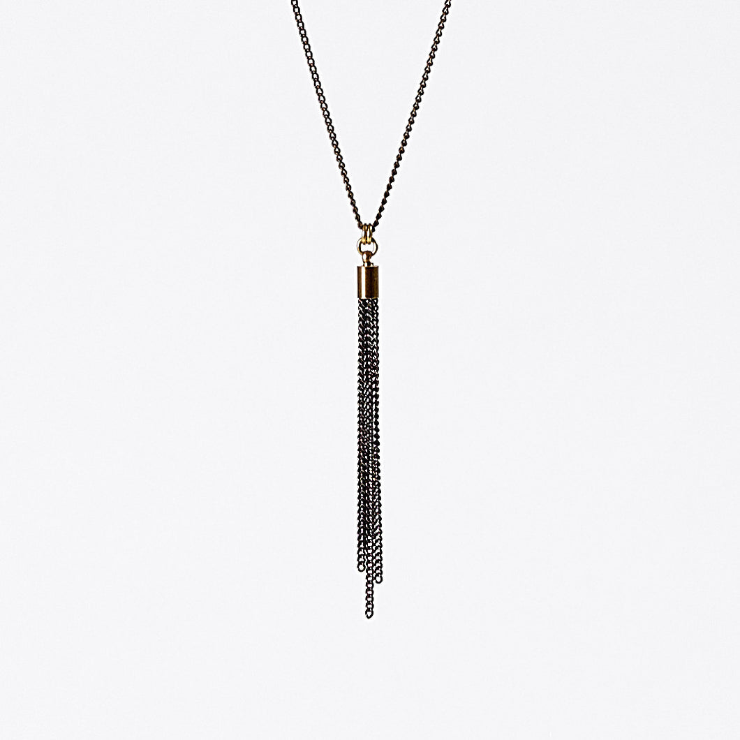 tassel curb chain XS brass necklace #2