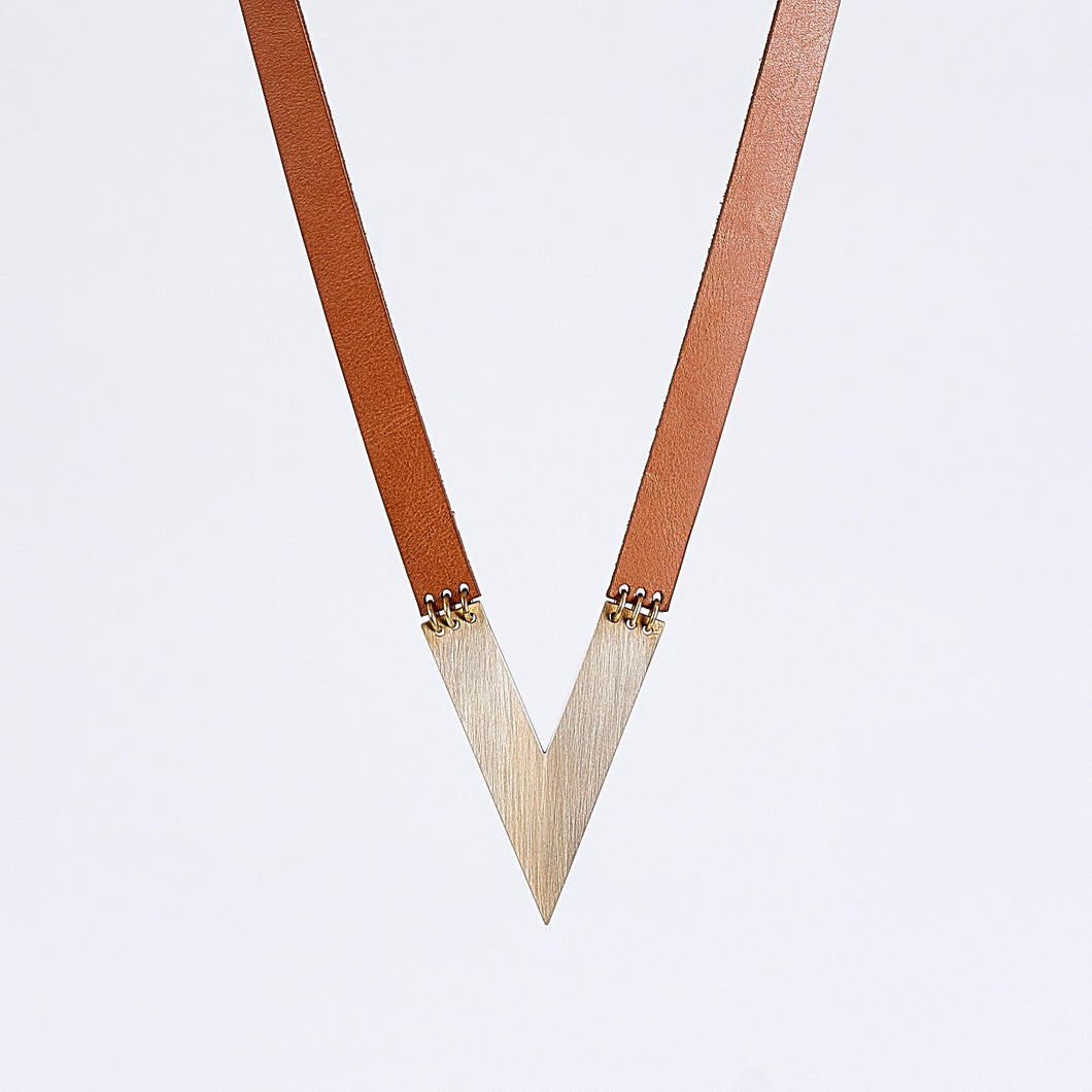 strapped edgy V brass necklace #1