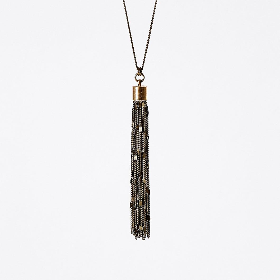 tassel curb chain L brass necklace #2