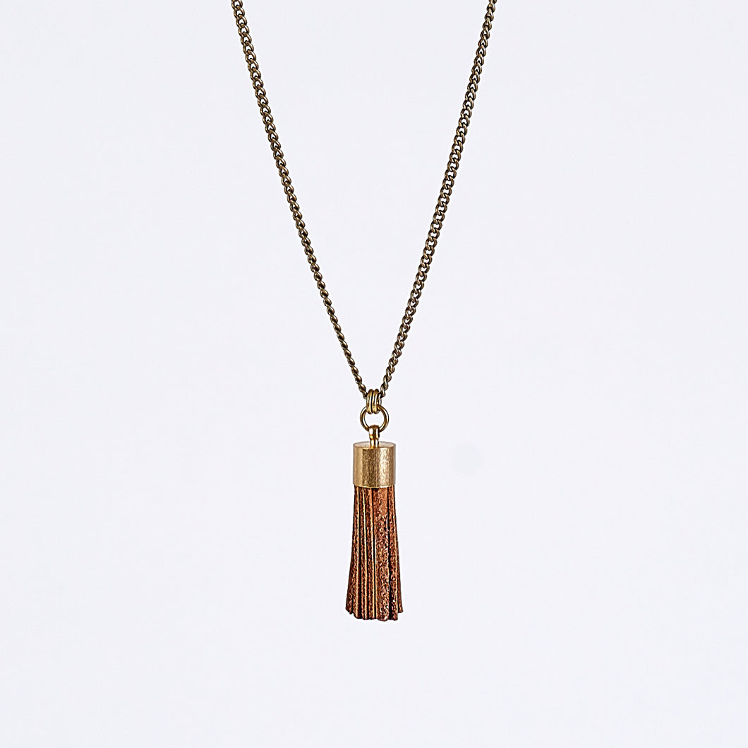 tassel leather L brass necklace #1