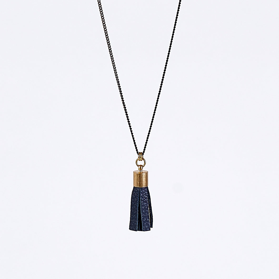 tassel leather L brass necklace #4