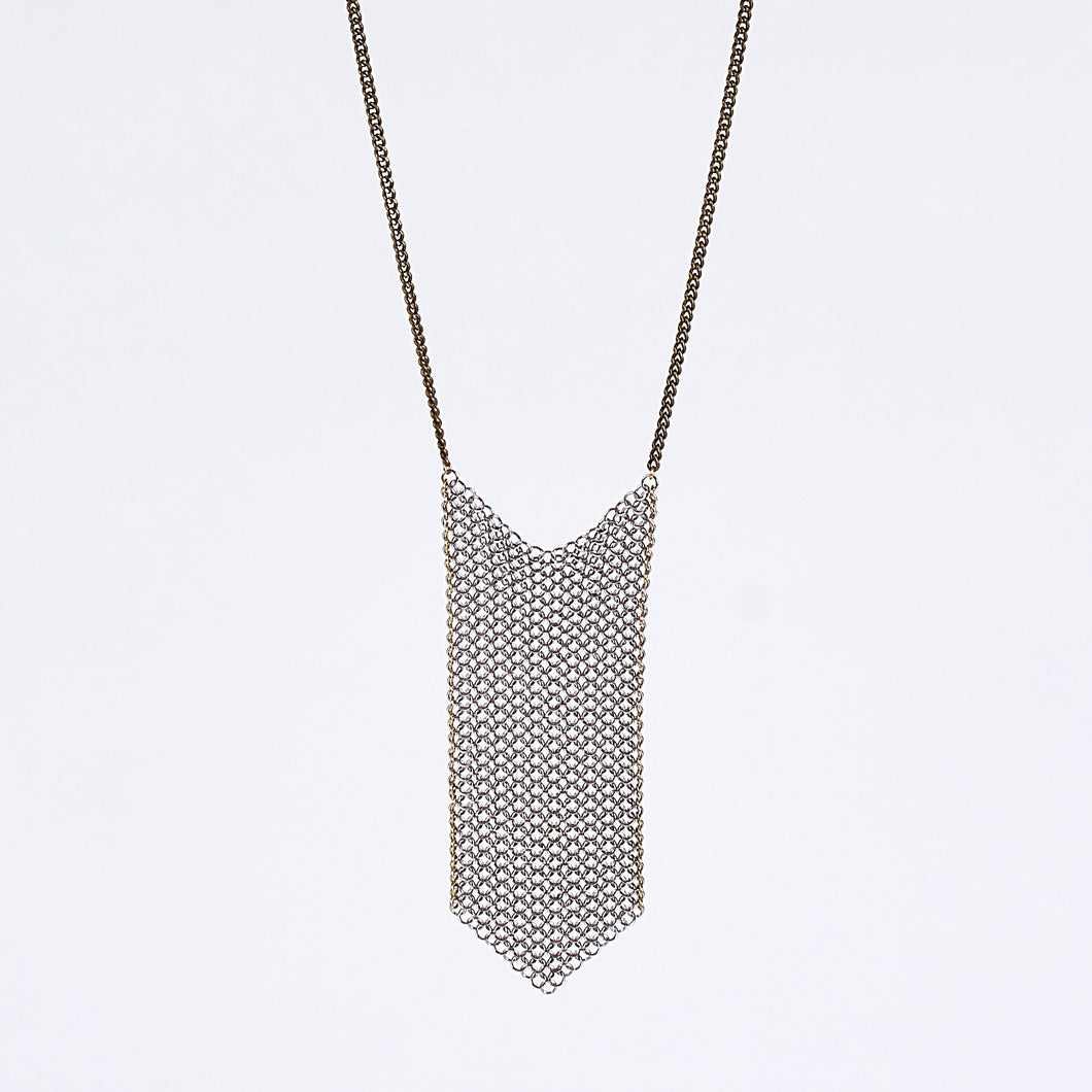 waterfall ring mesh brass necklace #2