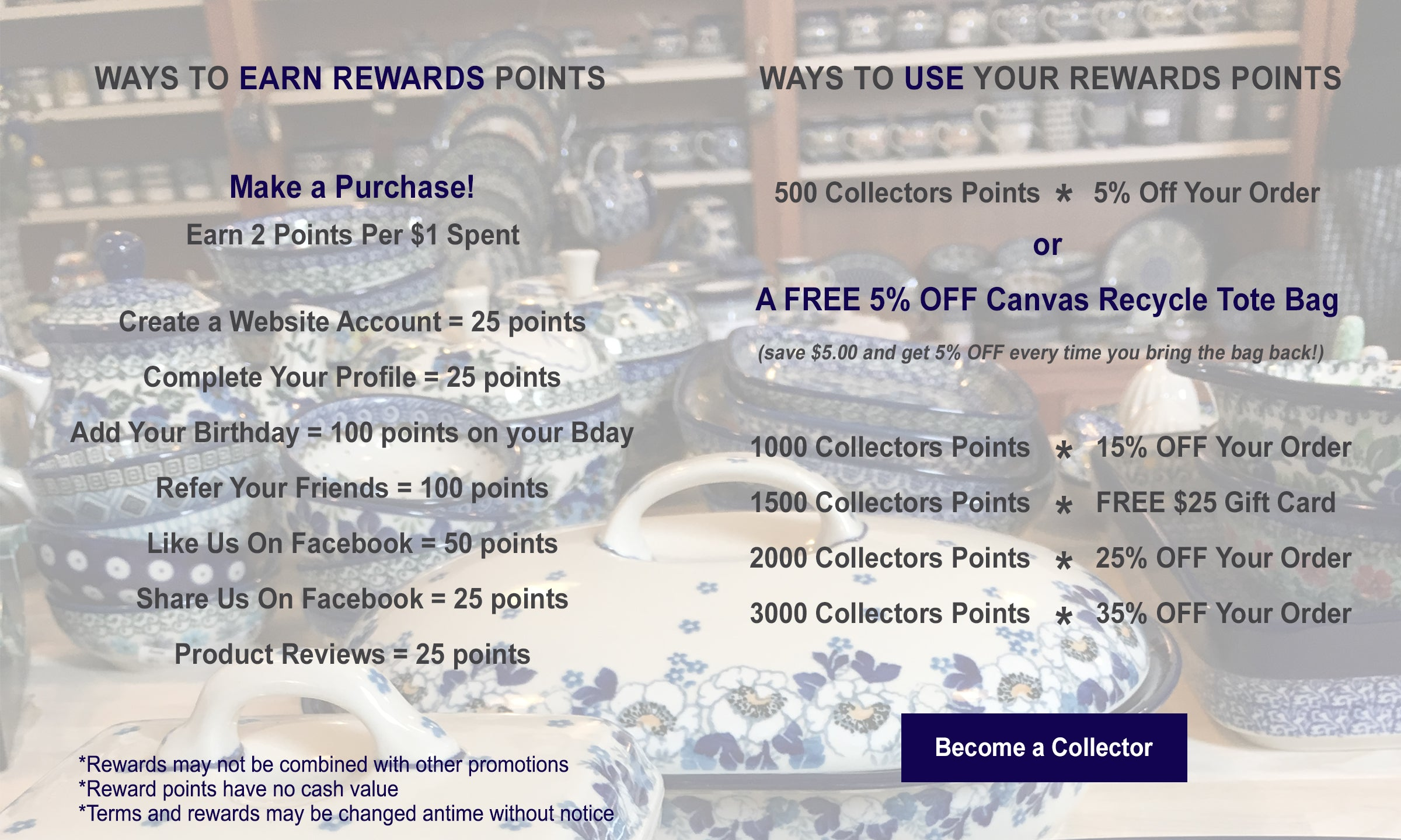 How to earn and use Great2bHome Polish Pottery reward points