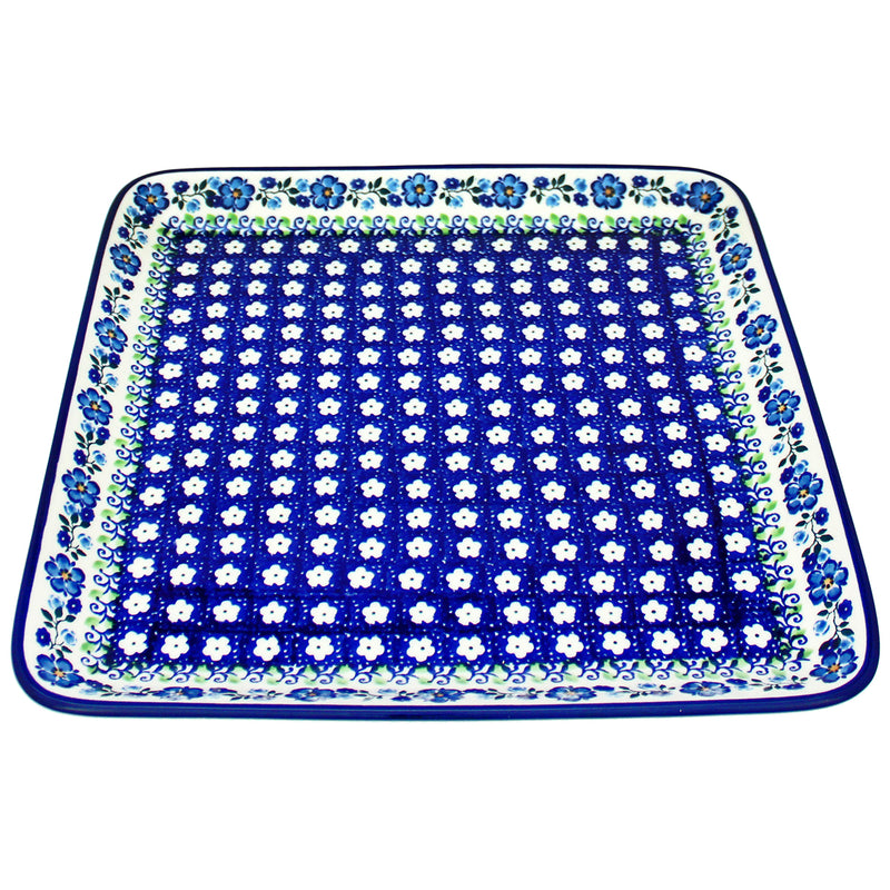 "Polish Pottery CA 11"" Square Platter Tray - Spring Melody"
