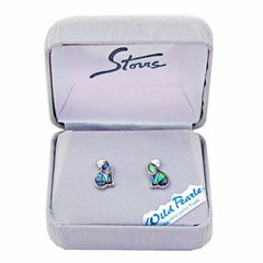 Storrs Wild Pearle  Abalone Shell Post Earrings Cozy Cat