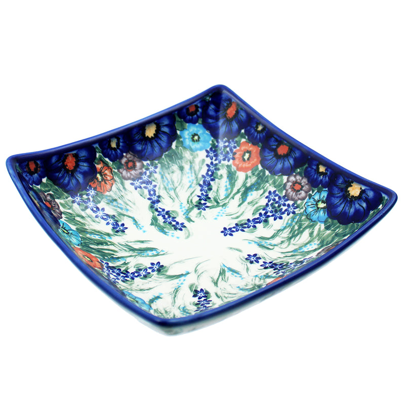 "Polish Pottery 8"" Square Dalia Bowl Artistic Signature Series - A302"