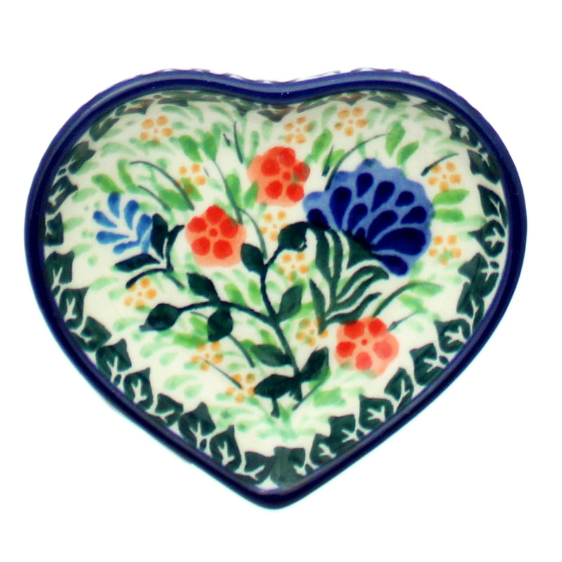 "Polish Pottery CA 3.25"" Heart Teabag Holder - U2096"