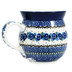 Polish Pottery Handmade 10 oz. Bubble Mug - Blue Violets
