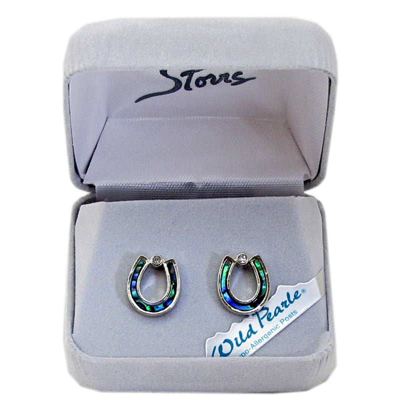 Storrs Wild Pearle  Abalone Shell Post Earrings Horseshoe