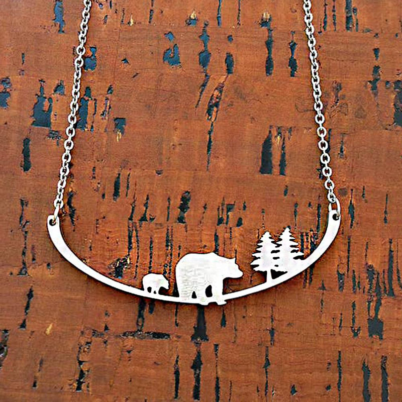 "Close2URHeart Stainless Steel 18"" Necklace - 2 Bears"