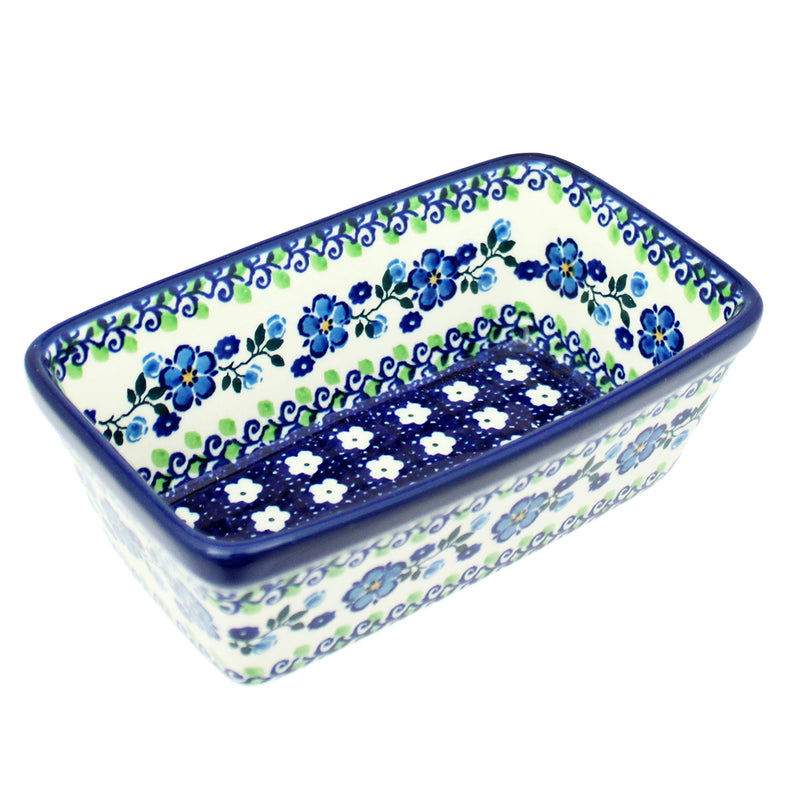 "Polish Pottery CA 6.25"" Mini Loaf Pan Baker - Spring Melody"