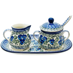 Polish Pottery CA 5 Pc Sugar & Creamer with Tray and Sugar Spoon - 2273X