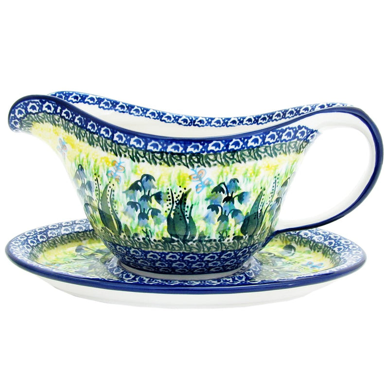 Polish Pottery Signature Series Gravy Pitcher with Saucer 239-U1483