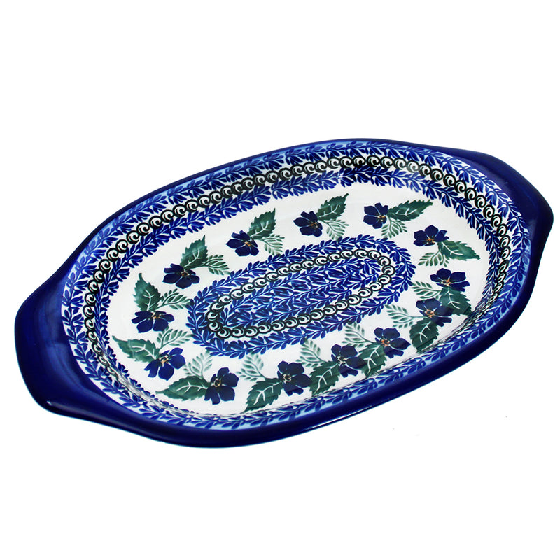 "Polish Pottery Dalia 12.25"" Oval Serving Platter - U221"