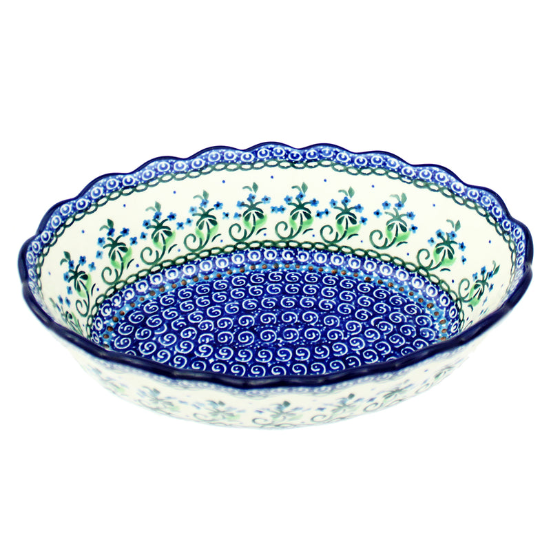 "Polish Pottery CA 8.5"" Ruffled Oval Serving Bowl A89-2598X"