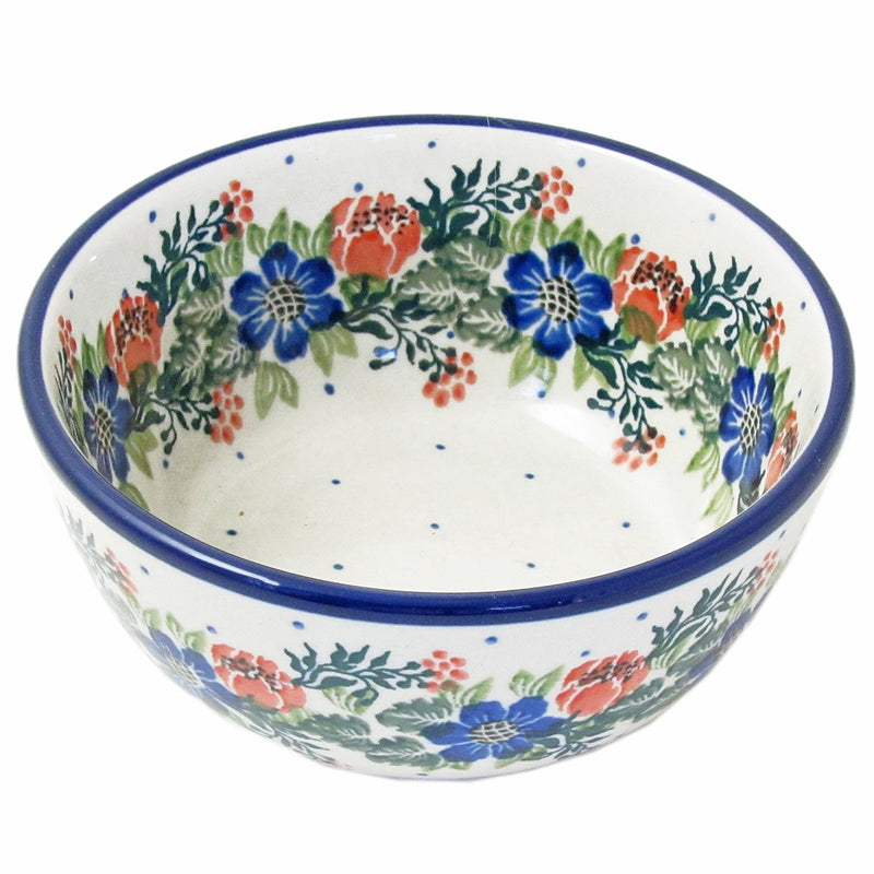 Polish Pottery 4.5'', 10 Oz. Handmade Ice Cream Dessert Bowl 017-Festive Garland