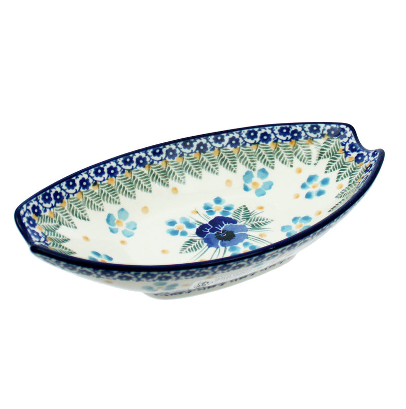 "Polish Pottery CA 6.75"" Oval Condiment Dish - 2276X"