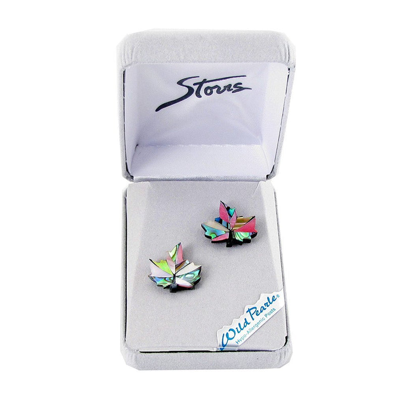 Storrs Wild Pearle  Abalone Shell Post Earrings Maple Leaf Blush