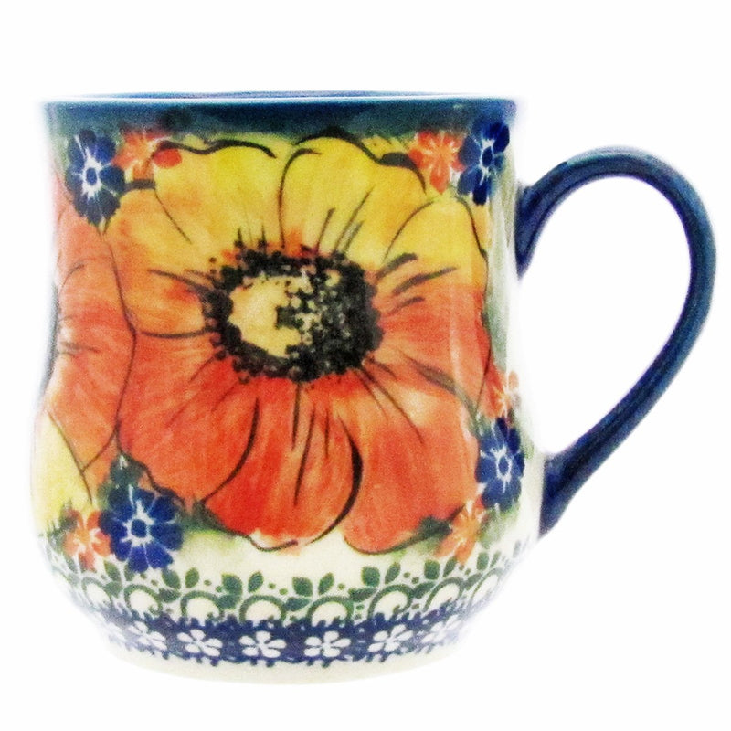 Polish Pottery 12 oz Curved Mug Artistic Unikat - A306