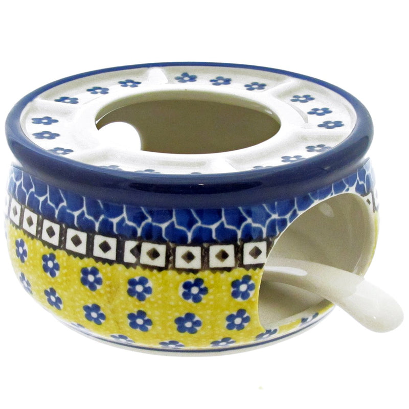 "Polish Pottery 5"" WARMER FOR TEAPOT w CANDLE TRAY - 859X"