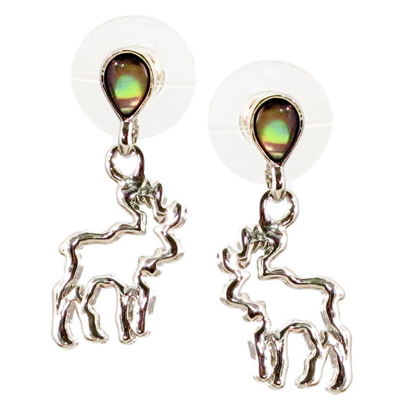 Storrs Wild Pearle  Abalone Shell Post Earrings Moose Spirit