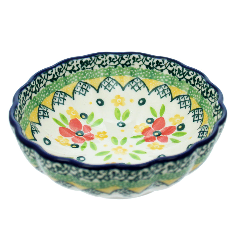 "Polish Pottery CA 4.5"" Fluted Dessert Dish - 2357X"