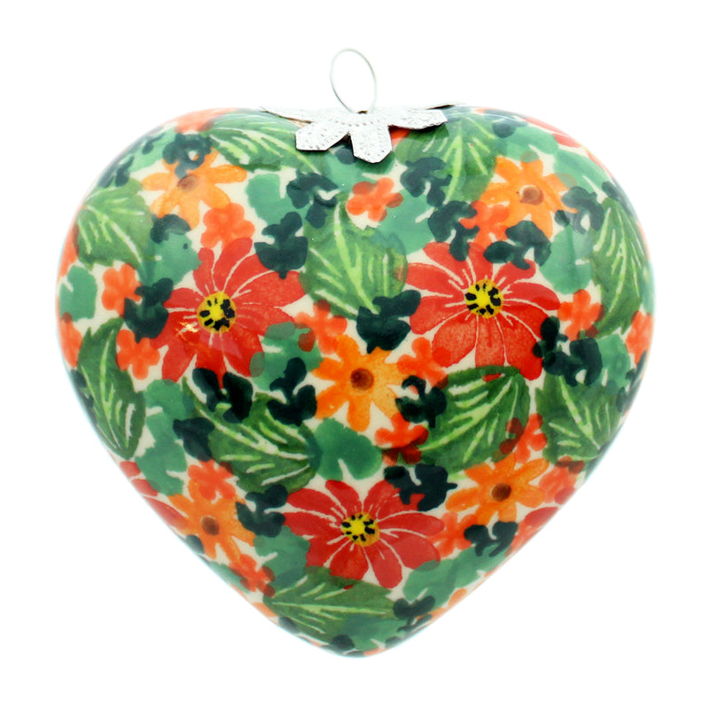 "Polish Pottery Kalich 3.5"" Heart Hanging Ornament - 03"