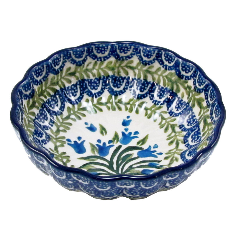 "Polish Pottery CA 4.5"" Fluted Dessert Dish - 1432X"