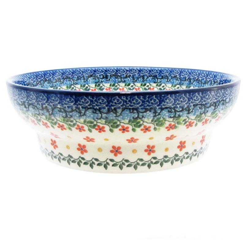 "Polish Pottery 8.5"" FOOTED SERVING BOWL  D56-2284X"