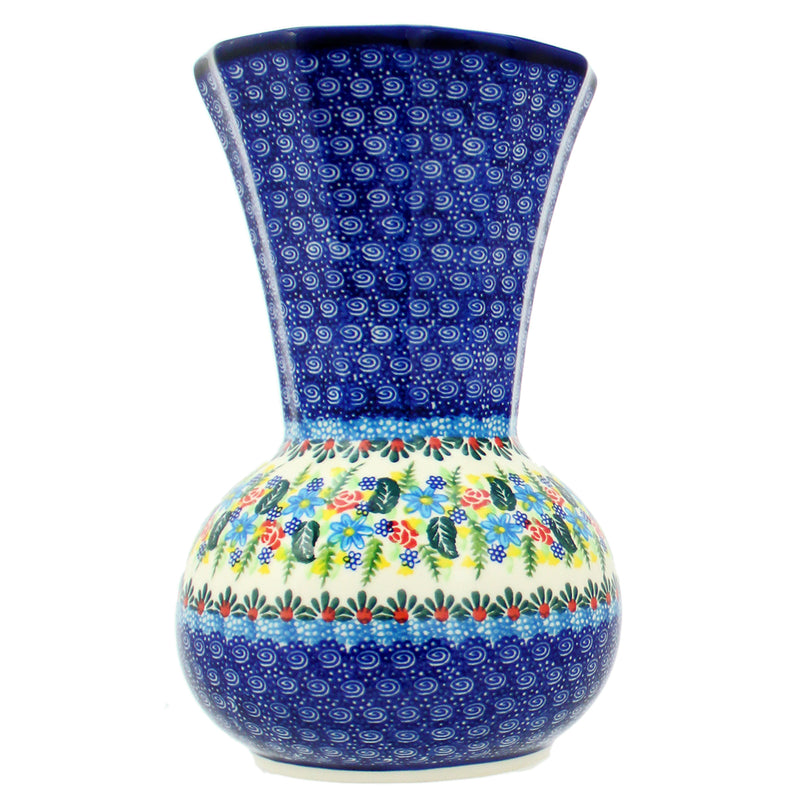 "Polish Pottery Kalich Unikat 9.5"" Tall Flared Vase - U423"