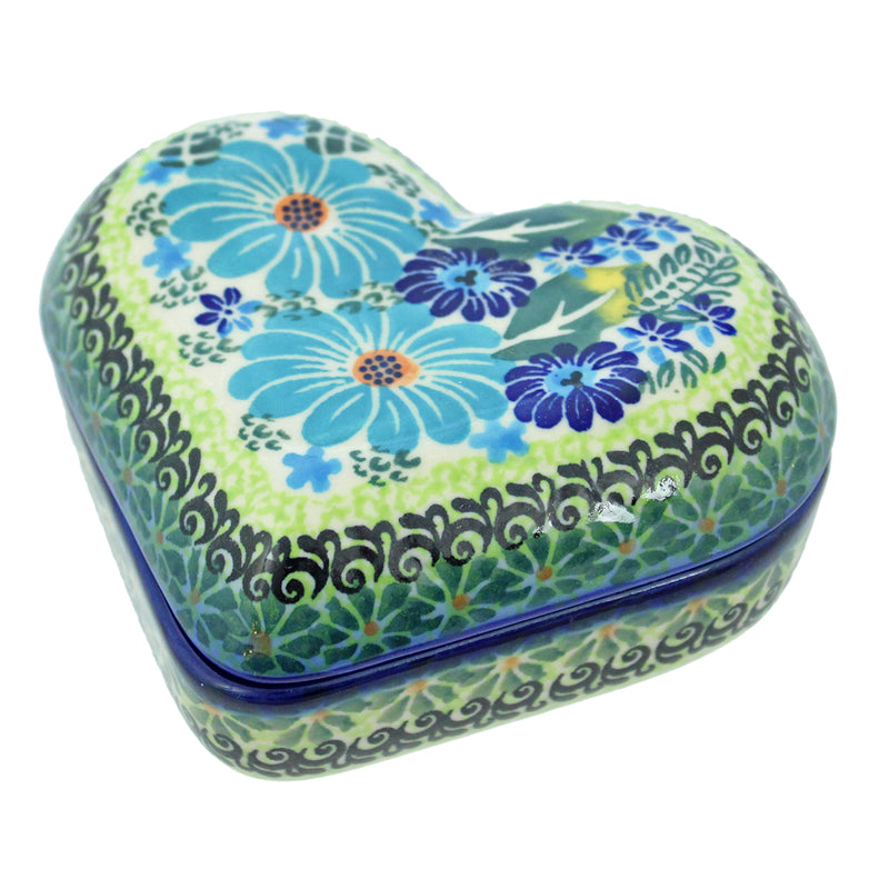 "Polish Pottery Dalia 5"" Heart Keepsake Box - U235"