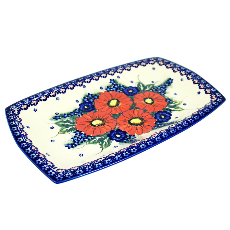 "Polish Pottery Dalia 12.5"" Rectangular Serving Platter - A301"
