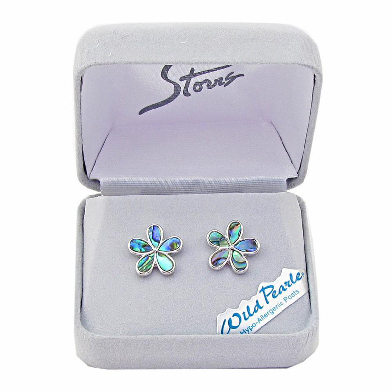 Storrs Wild Pearle  Abalone Shell Post Earrings Forget-Me-Not