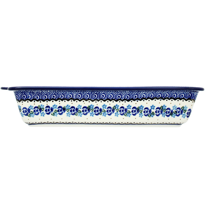 "Polish Pottery CA 13"" Rectangular Bakers with Handles - 882X"