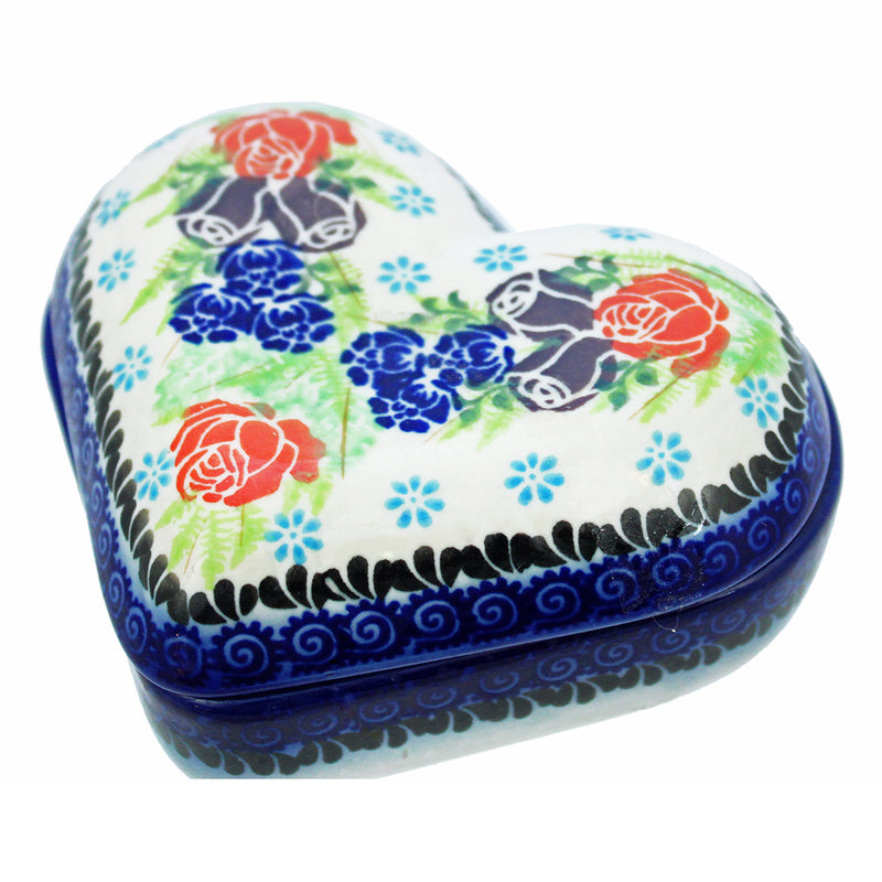 "Polish Pottery Dalia 5"" Heart Keepsake Box - U234"