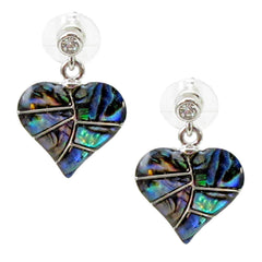 Storrs Wild Pearle  Abalone Shell Post Earrings Passionate Heart