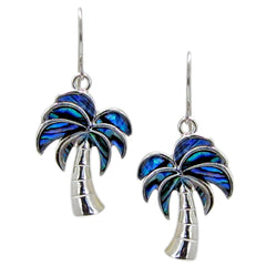 Storrs Wild Pearle  Abalone Shell Dangle Earrings Palm Trees