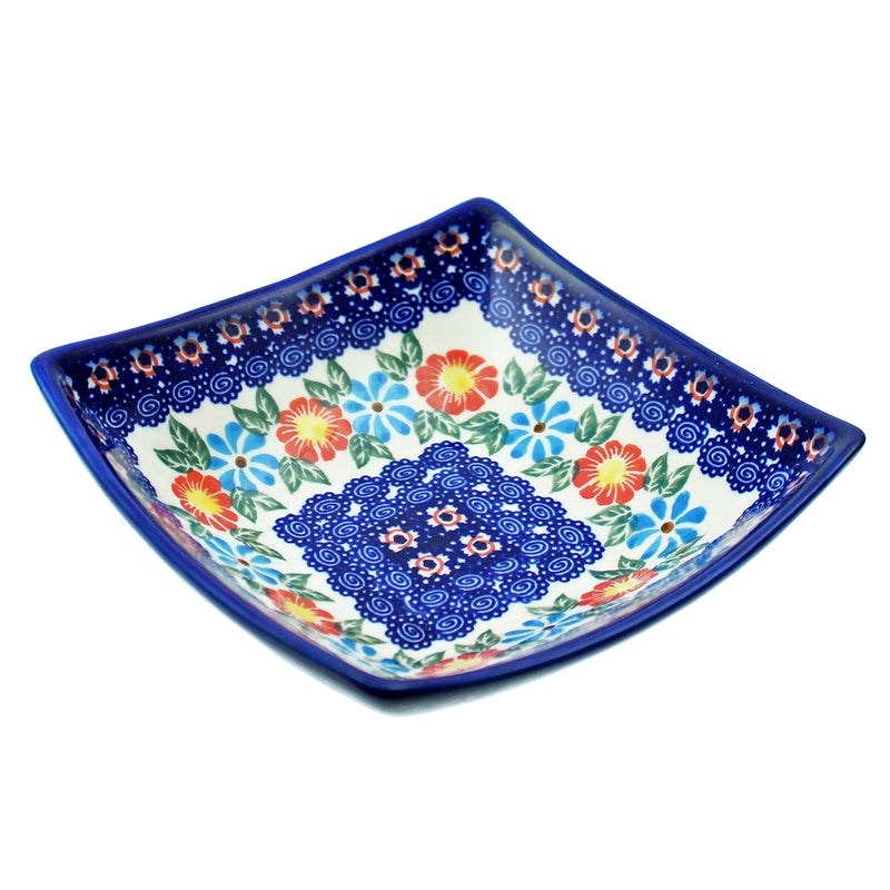 "Polish Pottery 5"" Square Dalia Bowl Unikat Series - U213"