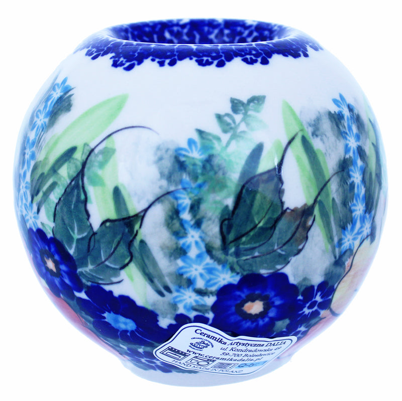"Polish Pottery 4"" Round Tea Artistic Series Light Holder - A402"