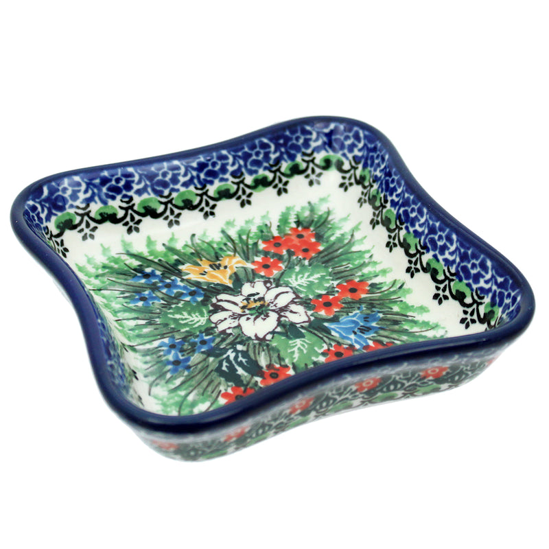"Polish Pottery 4.5"" Unikat Square Scalloped Dish - U3683"