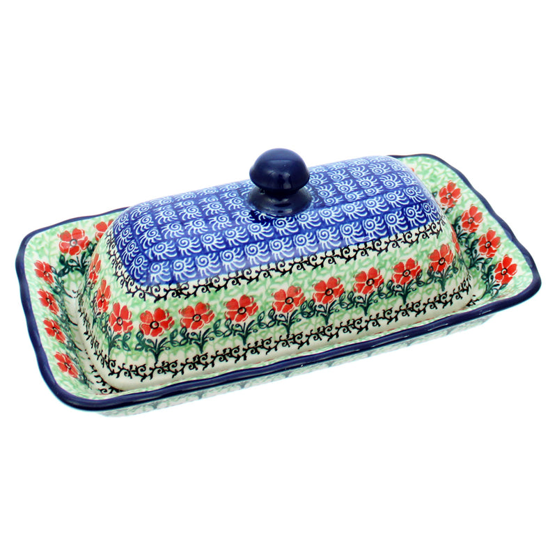 "Polish Pottery CA 9"" Long Butter Dish with Scalloped Tray - 1916X"