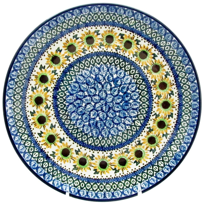 "Polish Pottery CA 10.5"" Dinner Plate - Sunflowers"