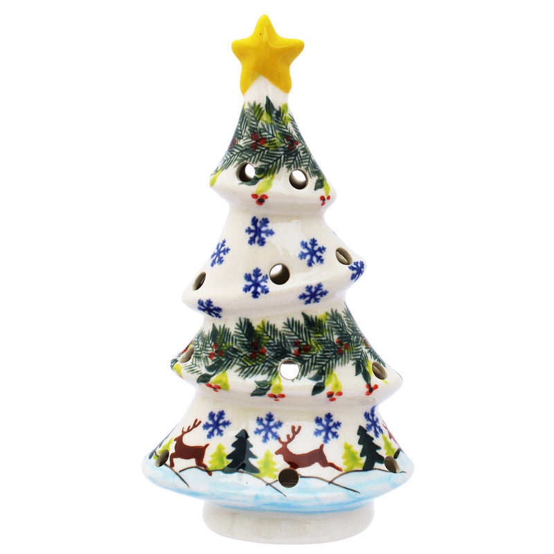 "Polish Pottery 7.5"" Crooked Christmas Tree Candle Holder (2 Pattern choices)"